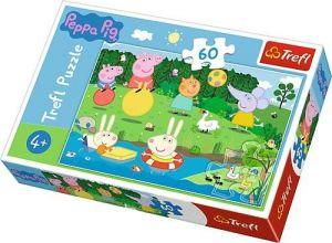 Puzzle   Trefl 60 dílků - Prasátko Peppa - prázdninová zábava  17326