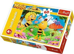 Puzzle   Trefl 60 dílků - Včelka Mája - květina pro Máju  17330