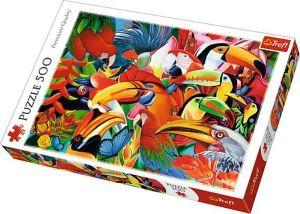 Puzle Trefl 500 dílků - Barevní ptáci  37328