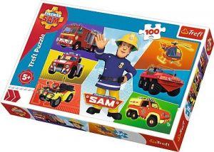Trefl Puzzle 100 dílků - Vozidla požárníka Sama   16354