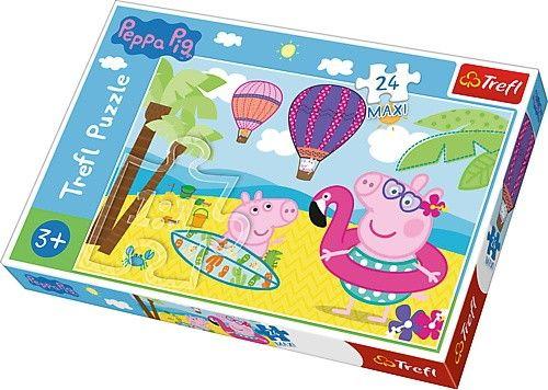 Trefl Puzzle Maxi 24 dílků - Prasátko Peppa - na dovolené 14293
