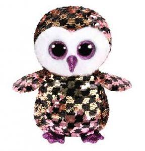 TY Beanie Boos Flippables - Checks - zlatočerná sova  36673 -  15 cm plyšák