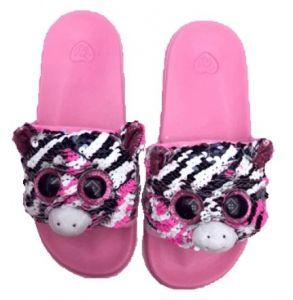 TY plyšové pantofle s flitry  -  zebra Zoe  - vel. L ( 36 - 38 ) 95667