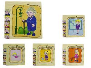 Dřevěné  vrstvové puzzle - babička  ( 4 vrstvy )