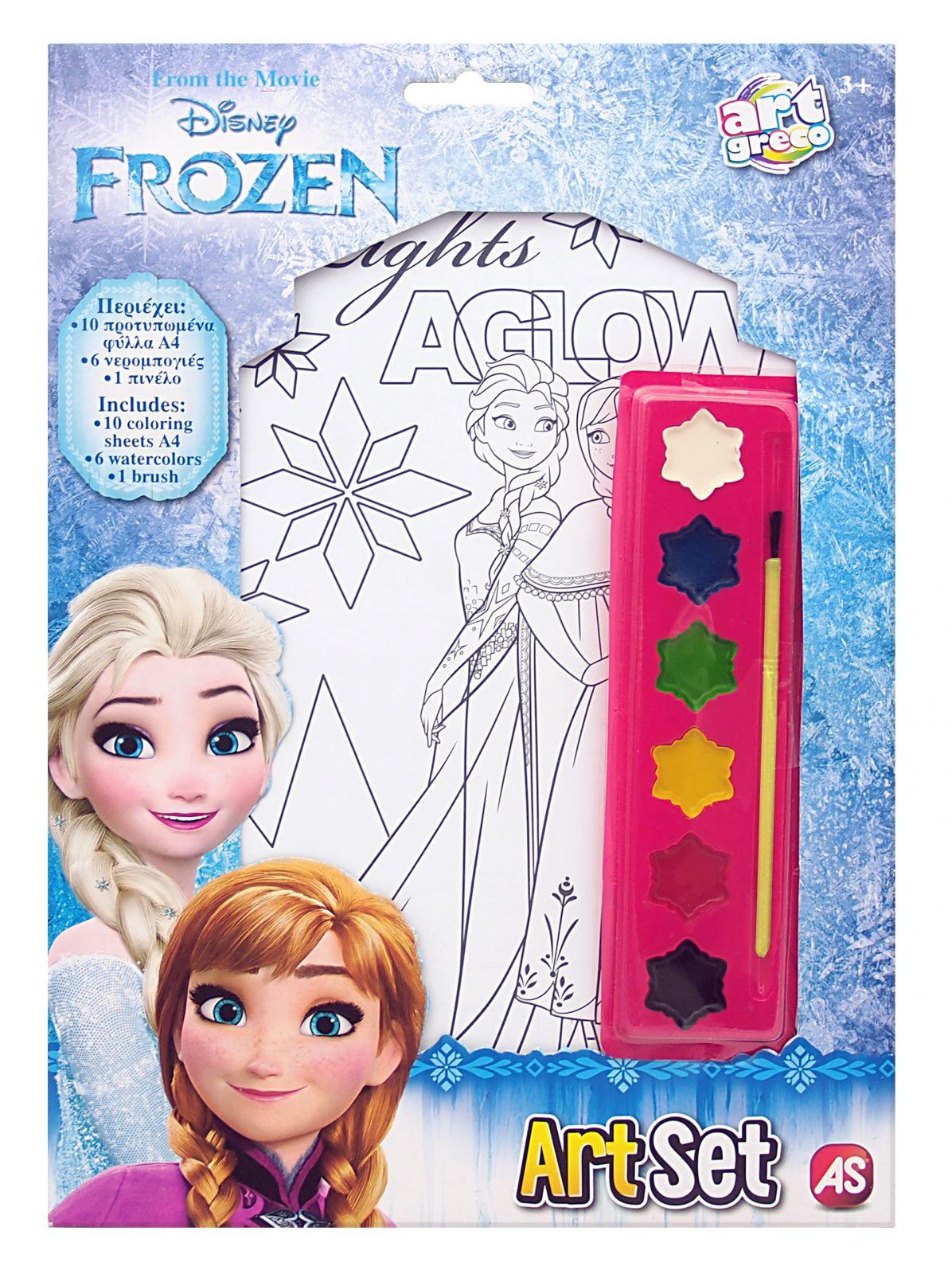 ArtSet - sada 10 obrázků A4 , 6 vodových barviček a štětec - Frozen AS Company