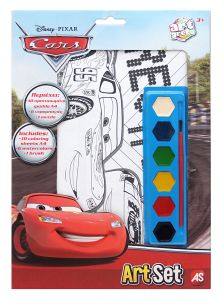ArtSet - sada 10 obrázků A4 , 6 vodových barviček a štětec - Cars