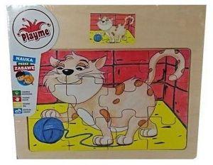 Brimarex - Dřevěné puzzle - 12 dílků  kočka  17,5  x 20 cm   1577108