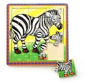 Brimarex - dřevěné puzzle - 9 dílků  zebry   15 x 15 cm