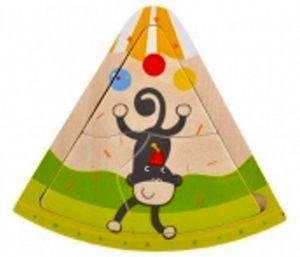 Brimarex - dřevěné trojhranné  puzzle  3 dílky - Opice  v cirkusu