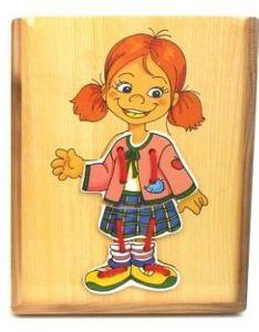 Brimarex - šněrování oblečení v dřevěné krabičce - holčička