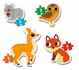 Clementoni Puzzle pro nejmenší - My first  4v1  - Lesní zvířátka  20814