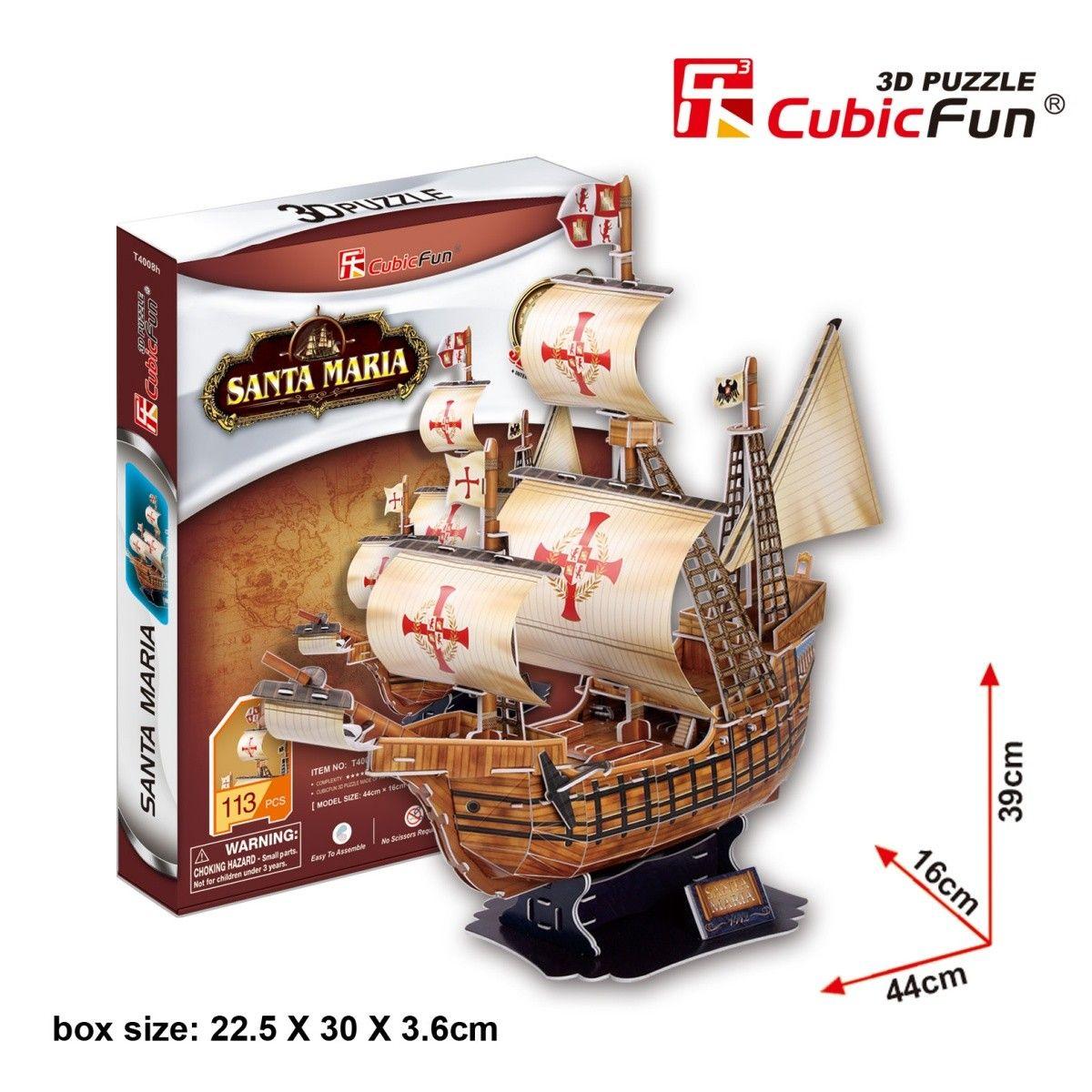 CubicFun 3D puzzle - plachetnice Santa Maria 113 dílků 24008 Cubic Fun