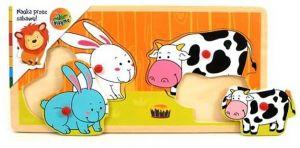 Dřevěná vkládačka s úchyty - králíci a kravičky 17 x 30 cm   4 dílky
