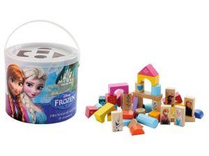 Dřevěné kostky 50 ks v kyblíku + vkládačka, kostičky  s obrázky Frozen
