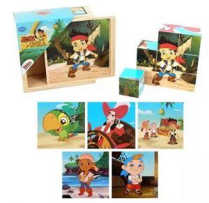Dřevěné obrázkové  kostky - Jake a piráti  - 9 ks kubus v dřevěné krabičce