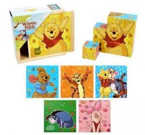 Dřevěné obrázkové  kostky -  Medvídek Pů   - 9 ks kubus v dřevěné krabičce