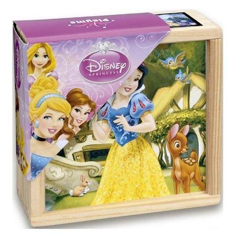 Dřevěné obrázkové kostky - Sněhurka - 9 ks kubus v dřevěné krabičce Playme - Brimarex