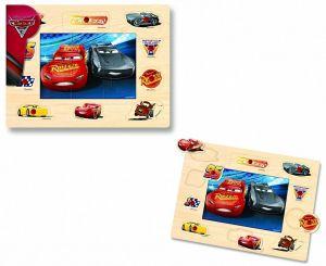 Dřevěné puzzle 6 dílků + vkládačka  s úchyty  10 dílků -  30 x 22 cm -  Cars