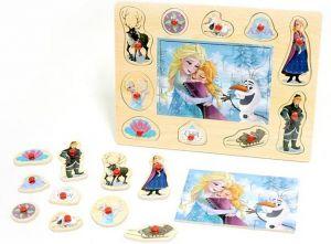 Dřevěné puzzle 6 dílků + vkládačka  s úchyty  10 dílků -  30 x 22 cm -  Frozen