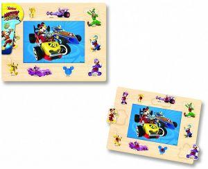 Dřevěné puzzle 6 dílků + vkládačka  s úchyty  10 dílků -  30 x 22 cm -  Mickey a závodníci