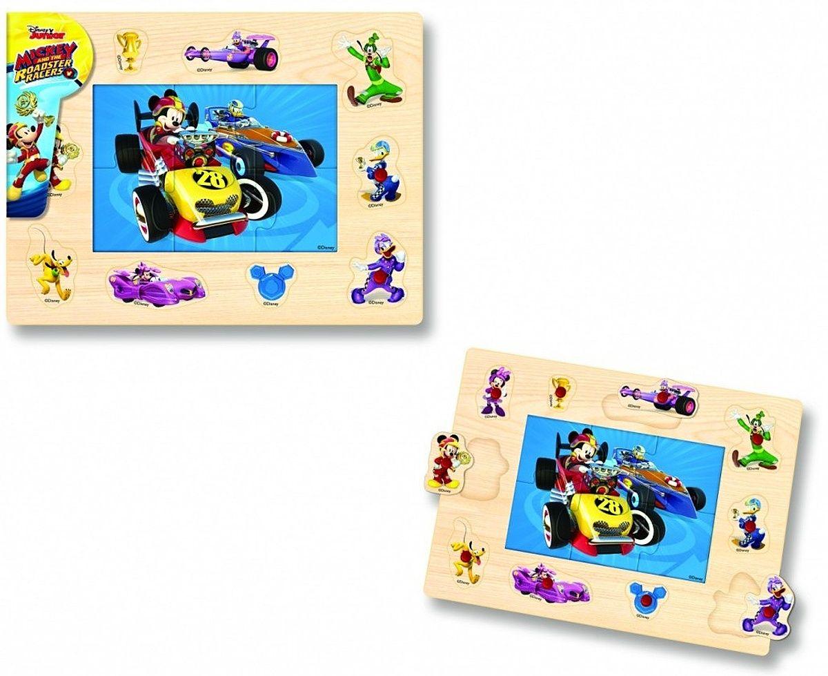 Dřevěné puzzle 6 dílků + vkládačka s úchyty 10 dílků - 30 x 22 cm - Mickey a závodníci Playme - Brimarex