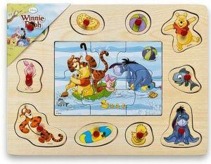 Dřevěné puzzle 6 dílků + vkládačka  s úchyty  10 dílků -  30 x 22 cm -  Medvídek Pů