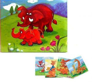 Dřevěné puzzle Brimarex  4 kusy po 12 dílků  v dřevěné krabičce  - divoká zvířata