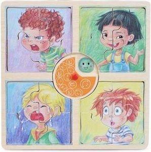 Dřevěné puzzle Brimarex  4 obrázky po 4 dílcích - Emoce - chlapeček