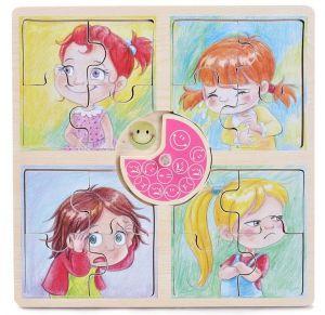 Dřevěné puzzle Brimarex  4 obrázky po 4 dílcích - Emoce - holčička