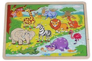 Dřěvěné puzzle Brimarex - Playme - 35 dílků - džungle    40 x 30 cm