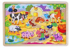 Dřěvěné puzzle Brimarex - Playme - 35 dílků - na vesnici   40 x 30 cm