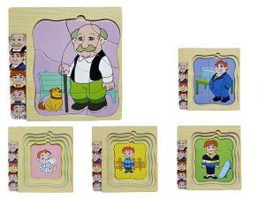 Dřevěné  vrstvové puzzle - dědeček  ( 4 vrstvy )
