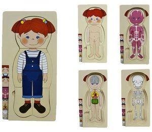 Dřevěné  vrstvové puzzle - holčička  ( 4 vrstvy )