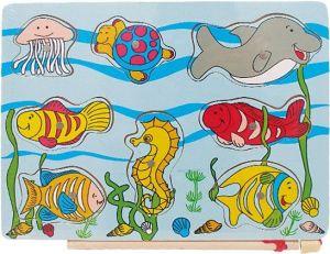 Dřevěný rybolov s udicí a 8 mořskými  živočichy 30 x 22 cm