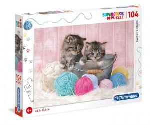 Puzzle Clementoni  - 104 dílků  - Sladká koťátka  27115