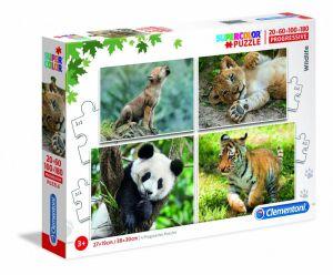 Puzzle Clementoni  - 20, 60, 100 a 180 dílků  - divoká zvířata   21409