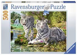 puzzle Ravensburger  500 dílků - Bílí tygři  147939