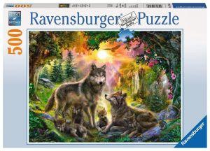 puzzle Ravensburger  500 dílků - Vlci při západu slunce 147458