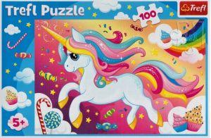 Puzzle Trefl 100 dílků - Hezký jednorožec  16386