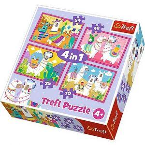 puzzle   Trefl 35, 48, 54 a 70  dílků -  4v1  - Lamy na dovolené   34322