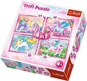puzzle   Trefl 35, 48, 54 a 70  dílků -  4v1  - Magický svět jednorožců 34321