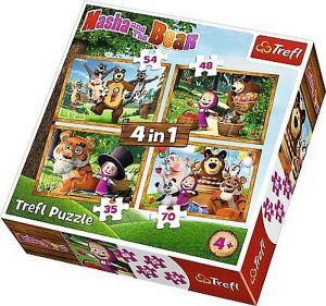 puzzle   Trefl 35, 48, 54 a 70  dílků -  4v1  - Máša a medvěd - lesní příběhy    34329