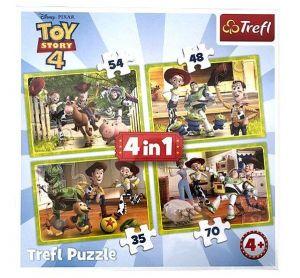 puzzle   Trefl 35, 48, 54 a 70  dílků -  4v1  -  Toy Story  34312