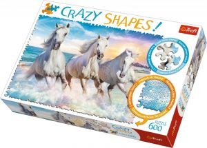 Trefl puzzle 600 dílků  Crazy Shapes - Cválající bělouši ve vlnách  11111