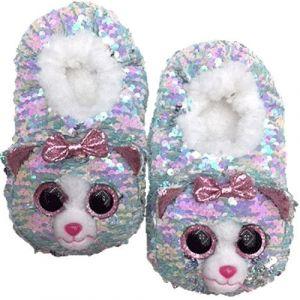 TY plyšové papuče  s flitry  - kočička Whimsy - vel.L   95569