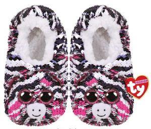 TY plyšové papuče  s flitry  - zebra Zoey - vel.L   95567