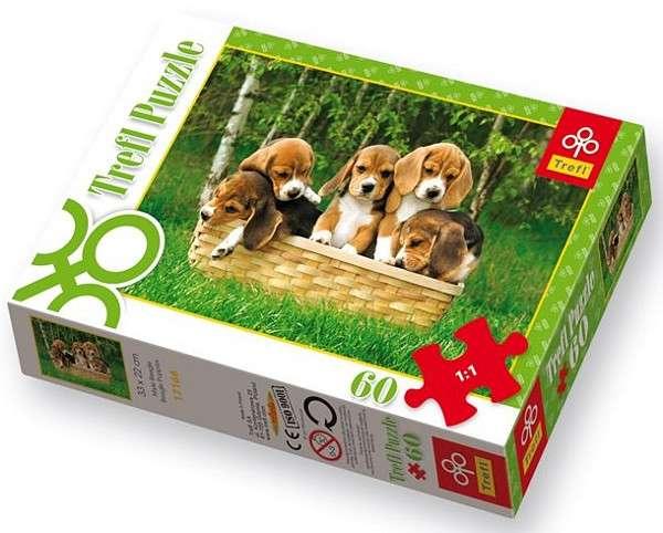 60 dílků - Štěňátka Bíglů - puzzle Trefl 17166