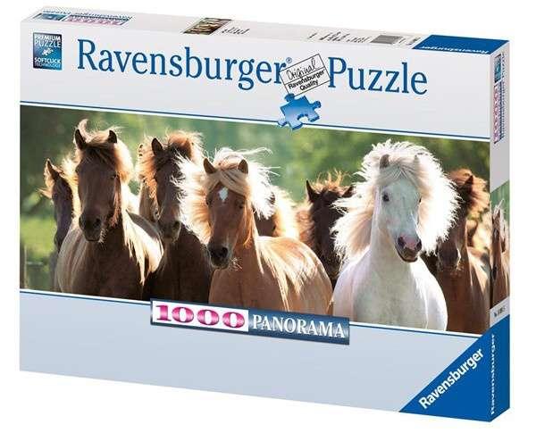 1000 dílků panorama - Divocí koně - puzzle Ravensburger 150915