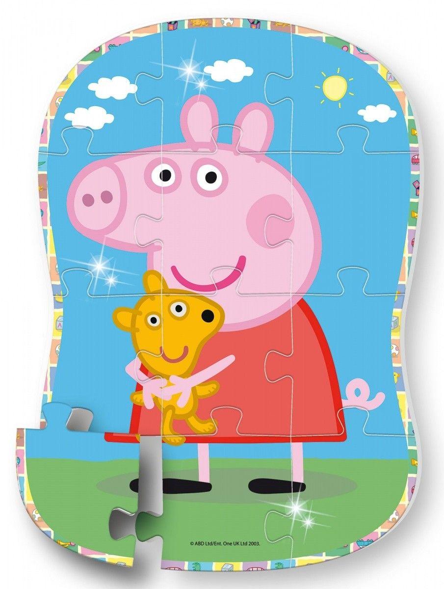 Lisciani puzzle tvarové 12 dílků Maxi - Prasátko Peppa - Peppa a Teddy 68326 Lisciangiochi