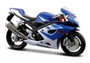 Maisto  motorka na stojánku - Suzuki GSX-R 1000  1:18  modrá